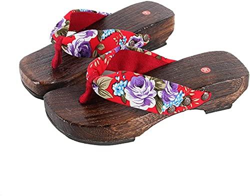 Sandalias japonesas Cosplay Zuecos zapatos japoneses de madera zuecos sandalias mujeres-rojo_7