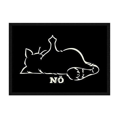 Print Royal Fußmatte Katze NÖ! / Rutschfester Fußabtreter für innen und außen/Schmutzmatte/Türmatte/mit lustigem Spruch / 70 x 50 cm