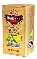 【ロシアお土産】ロシアブランド紅茶 МАЙСКИЙ (マイスキー) MAISKY ティーバッグ(2g*25枚/個包装) x3箱セット (ベルガモット&ミント3箱)