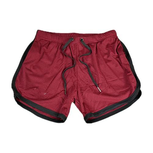 N\P Traspirante Running Sport Shorts Uomo Asciugatura Rapida Bodybuilding, Rosso, M