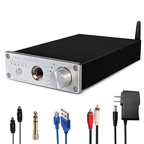 FX AUDIO DAC and Headphone Amplifier DAC-X6MKII 192kHz Bluetooth DAC with Headphone Amp Optical/Coaxial/PC-USB/Bluetooth to RCA & 6.35MM Headset Digital to Analog Audio Converter (Silver)