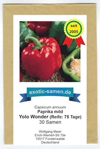 Paprika - Gemüsepaprika - Blockpaprika - süß - rot - Yolo Wonder - 30 Samen