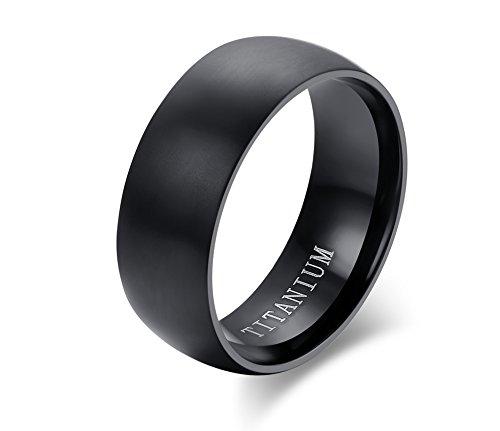VNOX Herren Pure Titanium Dome Form Hoch Polnisch Hochzeit Engagement Band Ring Schwarz Comfort Fit,8mm