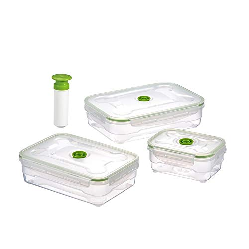 Fszhen-canh 3PCS Plastic Food Storage Box Set Fridge Freezer Food Storage Boxes Microwavable Fresh Vacuum Box Kitchen Containers