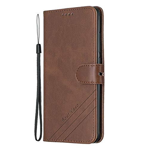 Tosim Xiaomi Mi A2 / Mi 6X Hülle Klappbar Leder, Brieftasche Handyhülle Klapphülle mit Kartenhalter Stossfest Lederhülle für Xiaomi MiA2 / Mi6X - TOHEX120514 Braun