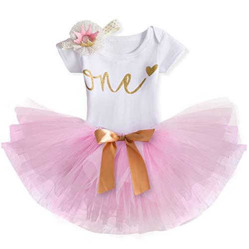 TTYAOVO Mädchen Rock Neugeborenen 3er Babys 1 Geburtstag Set/Outfits mit Romper + Tutu Kleid + Stirnband Größe 1 Jahr 647 Rosa