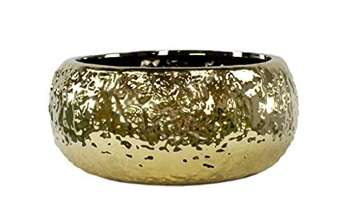 DARO DEKO Keramik Pflanz-Gefäß rund Gold Ø 28cm