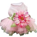 Sanwood Daisy Flower Gauze Tutu Dress Pet Dog Bowknot Princess Clothes Pet Only (XL)