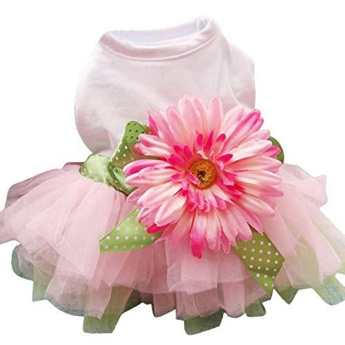Sanwood Daisy Flower Gauze Tutu Dress Pet Dog Bowknot Princess Clothes Pet Only(S)