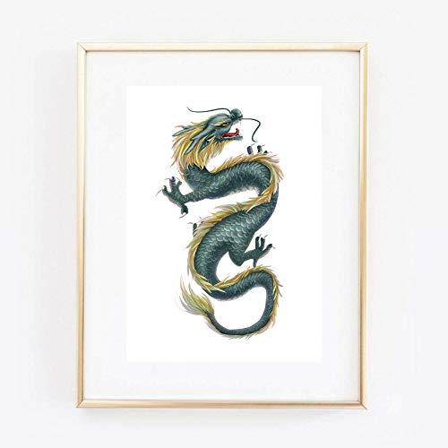 Kunstdruck Din A4 ungerahmt Grüner Drache Dragon Fantasy Phantasie Fabelwesen Poster Bild