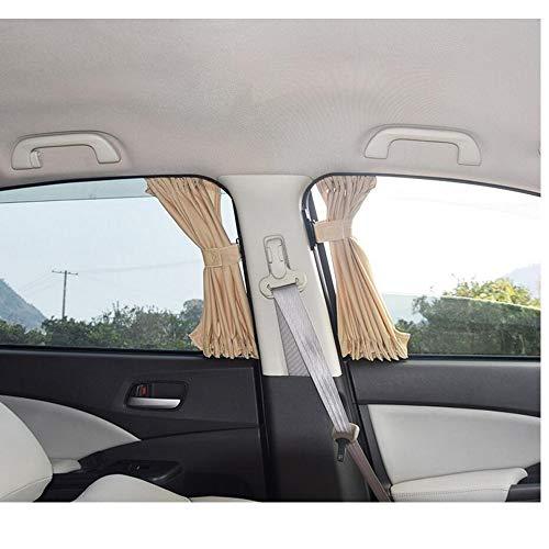 70S katoenen stof Autogordijn Zijruit Auto Zonnescherm Gordijn UV-beschermend blok Gordijn Zonneschermset - beige