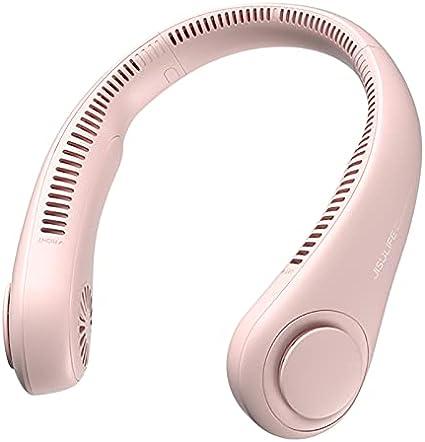 TENGGO Mini Ventilador portátil Cuello 4000 mAh sin Cuchillas USB Recargable Ventilador silencioso Ventiladores Deportivos 360 ° Full Wide Ranger Ventilador Manos Libres-Rosa