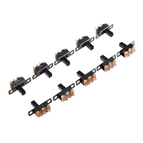 Kfdzsw Micro Interruptor 10pcs Black SPDT Switch Micro Toggle Interruptor de Encendido Desactivado Miniatura Interruptores de Diapositivas para DIY PEQUEÑOS Productos ELECTRONICOS