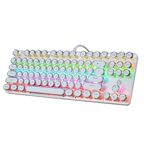 ゲーミングキーボード PC、ノートPC、デスクトップPC、パソコン、ノートPC用のキーボード 有線です Dell、Acer、HP、Samsungなどに対応したUSBキーボード、87キー青軸 (White)