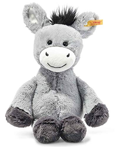 Steiff 073748 Original Plüschtier Dinkie Esel, Soft Cuddly Friends Kuscheltier ca. 30 cm, Markenplüsch mit Knopf im Ohr, Schmusefreund für Babys von Geburt an, graublau