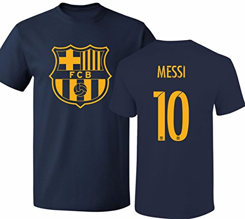 Barcelona Soccer Shirt Lionel Messi #10 Futbol Jersey Youth T-Shirt Navy