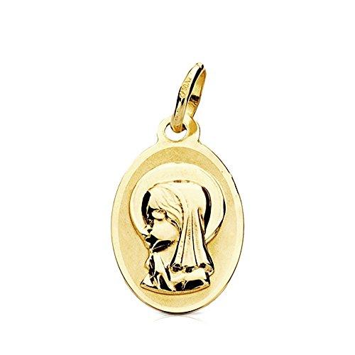 Medalla oro 9k óvalo Virgen Niña 17mm. [AB3224]