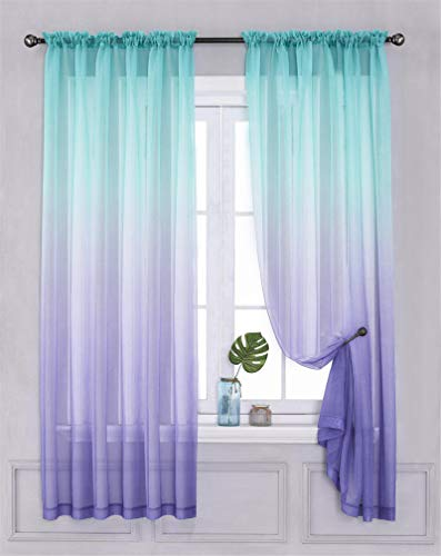 "Yancorp 2 Panel Sets Bedroom Curtains 63 inch Length Sheer Curtain Linen Teal Turquoise Purple Aqua Ombre Girls Living Room Door Kitchen Window 63 72 84 96 inches Long(Turquoise Purple, 40""x63"")"