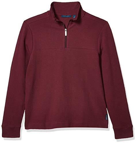 Perry Ellis Men's Standard Ottoman Rib Knit Quarter-Zip Long Sleeve Shirt, Fig, Medium