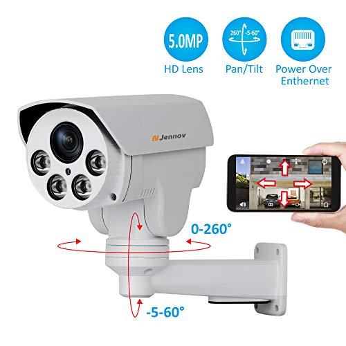 Jennov POE PTZ IP Kamera 5MP Super HD H264+ Überwachungskamera 260° schwenkbar 60° neigbar 4X Fach Zoom mit Bewegungserkennung IR Nachtsicht IP66 wasserdicht Video & Audio Fernzugriff für Innen Außen