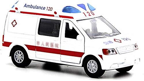 Zhangl Simulación de efectos de sonido de la ambulancia modelo se puede abrir el sonido de la puerta y tire de la Luz Volver emergencia del coche de la aleación Tire hacia atrás de la ambulancia de co