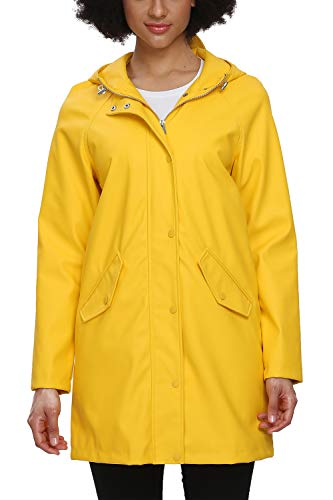 Fahsyee Raincoat Women, Rain Jacket Waterproof Raincoat Hooded Windbreaker Outdoor Active Long, Yellow, Size S
