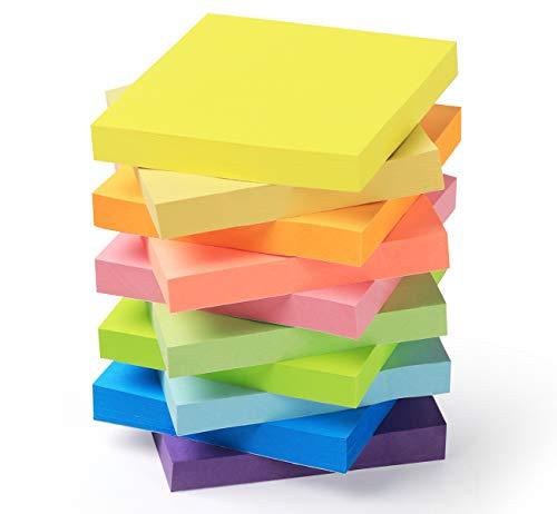 1000 Foglietti Adesivi per Appunti di 76 x 76 mm, in Colori Fluo Assortiti, Bloccheti Autoadesivi e Removibili, per Ufficio e Studio, 10 Blocchi di 10 Colori