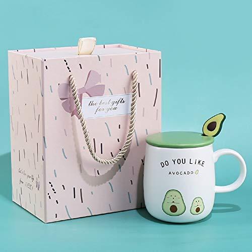 donfhfey827 Taza de cerámica Fresca Taza con Tapa Cuchara Cerámica Personalidad Creativa Tendencia Hogar Oficina Taza de café Estilo nórdico Mujer Simple