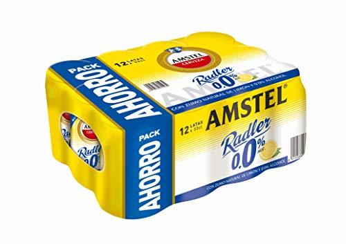 Amstel Radler 0,0 Alc Cerveza, Limón, Pack de 12 x 33cl