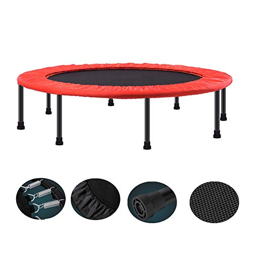 Small Trampoline,48-inch Foldable Trampoline Kids Indoor Entertainment Tool Adult Fitness Workout Stability Training,Mini Fitness Trampolines with Adjustable Handle for Adults 150kg,Orange,Noarmrests