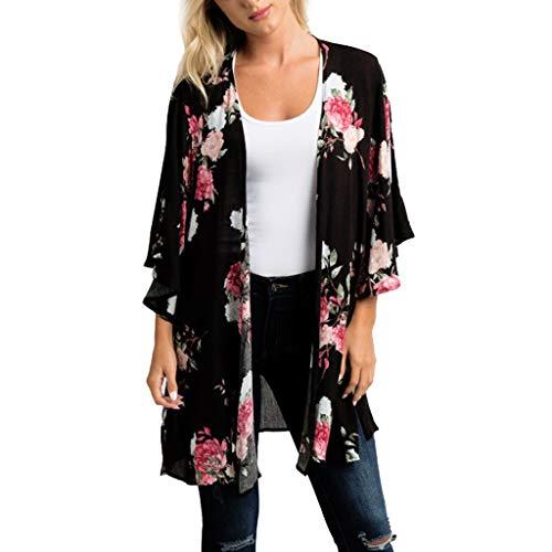 wyxhkj Kimono Cardigan Blusa, Camiseta Manga Media Gasa Imprimir Floral Playa Vacaciones Casual Cardigan Top Cover Up Blusa Ropa Abrigo para Mujer Verano (3XL)