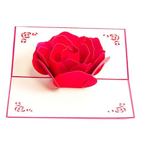 ENJOYPRO Rose Pop Up Card, Valentines day card, Mothers day card, 3d Rose Card, Rose Flower Greeting Card, Rose Birthday Card With Envelope For Valentine's day, Mother's day (3D Rose, Pack of 1) Photo #5