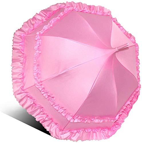 YIJIN Paraguas de Princesa de Hermana Suave Japonés Hecho en Casa, Sombrilla de Pagoda de Mango Largo para Novia de Boda, Sombrilla de Palacio Lolita,Pink
