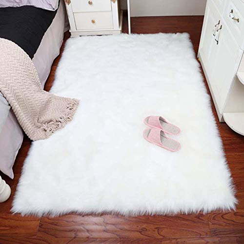 VaryCarry Soft Shaggy Faux Fur Sheepskin Area Rugs for Bedroom Carpet Nursery Floor Mats Sofa-Home Decor Fluffy Chair Cover Seat 2ft x 3ft,White