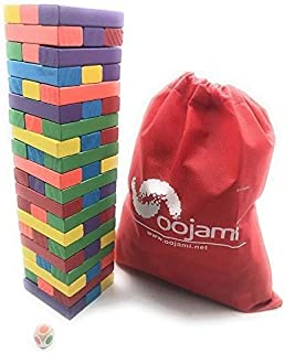 Oojami Wooden Toppling Tower Tumbling Stacking Board Games Building Blocks for Kids - 60 Pieces