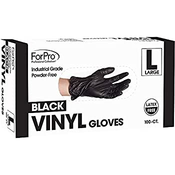 ForPro Black Powder-Free Vinyl Gloves Industrial Grade Latex-Free Non-Sterile Food Safe 2.75 Mil Palm 3.9 Mil Fingers Large 100-Count