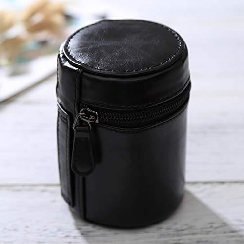 Lente pequeña Caja de la cámara Cremallera Cuero de la PU Caja de la Bolsa for la Lente de la cámara réflex Digital, Tamaño: 11x8x8cm (Negro) Movoo (Color : Black)
