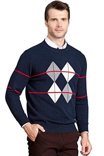ZHILI Cashmere Men's Crew-Neck Sweater_Dark Blue_X-Large