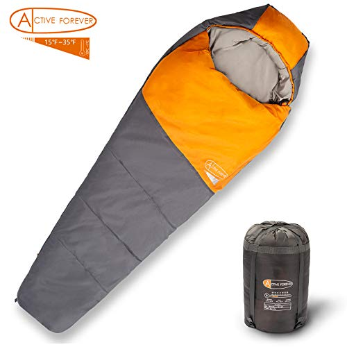 Active Forever Sac De Couchage Momie, Essentiels d'aventure en Plein air, Confortable & Chaleureux, Convient pour Tomber et Hiver (Orange)
