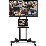 TVON テレビスタンド 32-70インチ対応 液晶TVスタンド キャスター付き 移動式 モニタースタンド 耐荷重50㎏ 壁寄せテレビスタンド ハイタイプ テレビ台 棚板付き 高さ/角度調節可能 移動式 業務用 展示用 家用テレビスタンド LCD/LED/OLED/PLASMA対応