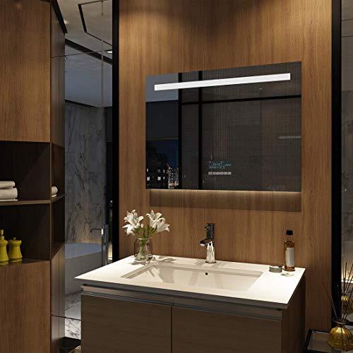 Meykoers Wandspiegel Badezimmerspiegel LED Badspiegel mit Beleuchtung 80x60cm mit Touch-Schalter, Bluetooth Lautsprecher und Beschlagfrei, Lichtspiegel Dimmbar Kaltweiß 6400K