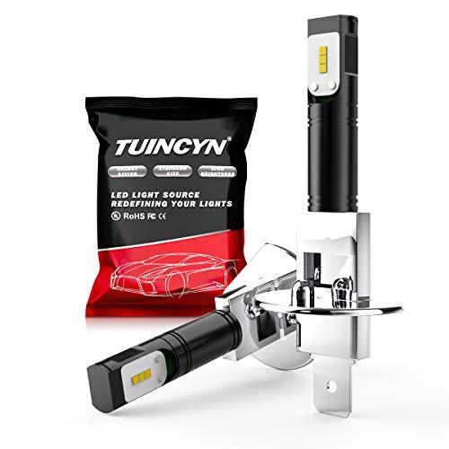 TUINCYN H1 LED Ampoules antibrouillard 6500K 1600LM Blanc CSP Puces DRL Feux de Jour Diurnes Feux antibrouillard de Rechange 40W Haute Puissance 12V-24V DC (Pack de 2)