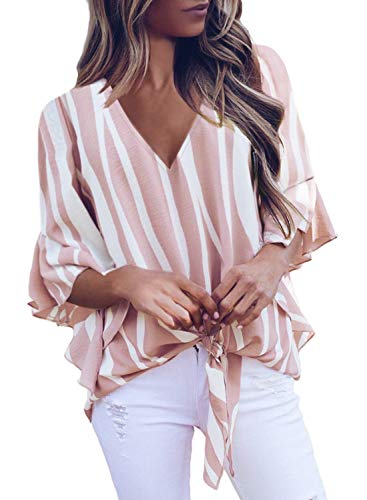 Asvivid Womens Cute Striped Printed V Neck Tops Flare Bell Sleeve Loose Knotted T-Shirt Club Shirt Party Fall Blouses M Pink