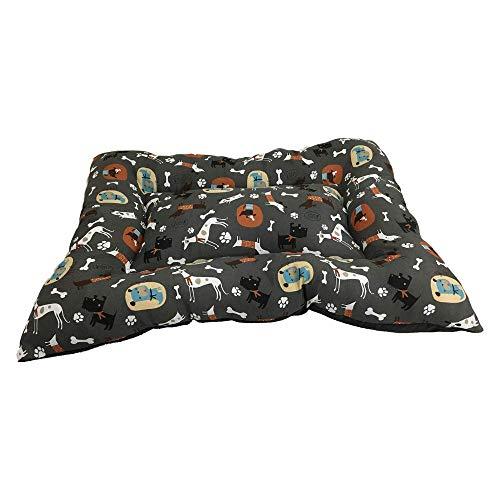 BRAVO. Cama para Perros. Sofá para Mascotas. Colchón Rectangular Acolchado de Color Gris Oscuro con Dibujos Confortable para Perros Pequeños, Medianos y Grandes. (Tallas S,M,L). (L-120x95cm)