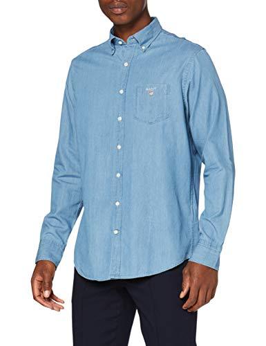 GANT Herren The Indigo REG BD Freizeithemd, Blau (Semi Light Blue 980), Small (Herstellergröße: S)