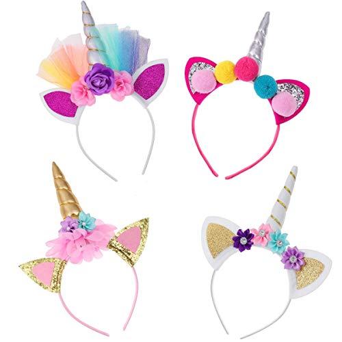 Frcolor Haarreif Einhorn Stirnband mit Unicorn Horn Haarschmuck mit Ohren für Ostern Geburtstag Birthday Party, 4er Pack