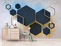 Bosakp 壁壁画3D壁紙幾何学的な濃い青の六角形の抽象的なリビングルームの寝室のテレビの背景の壁の装飾アー 360X250Cm