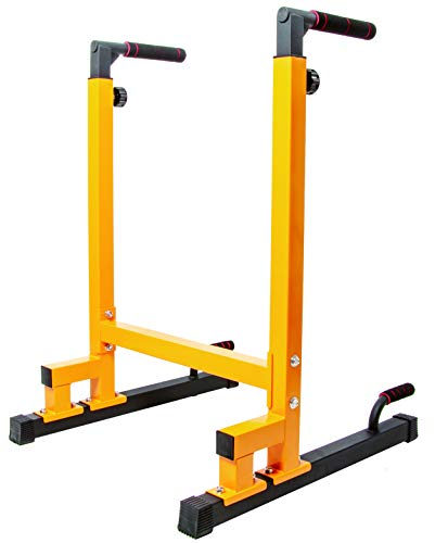 BalanceFrom Multi-Function Dip Stand Dip Station Dip bar with Improved Structure Design, 500-Pound Capacity (Yellow) (BFDB-1YLParent)