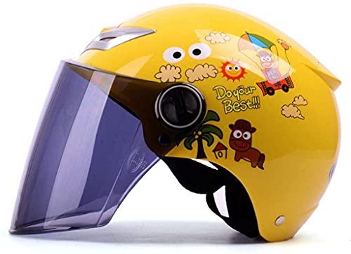 LAMZH Casco portátil Motocicleta eléctrica Casco Infantil Historieta Four Seasons Universal Brown Lens Casco de Seguridad, Amarillo, 33 * 26cm,Proteccion