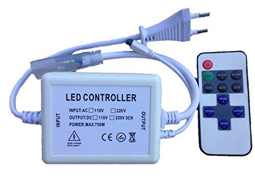 Ahorraluz Controlador Dimmer led 220v 5050 con Mando a Distancia Infrarrojos IR (para Tiras de 14mm Ancho, 10mm Entre Pines), Blanco
